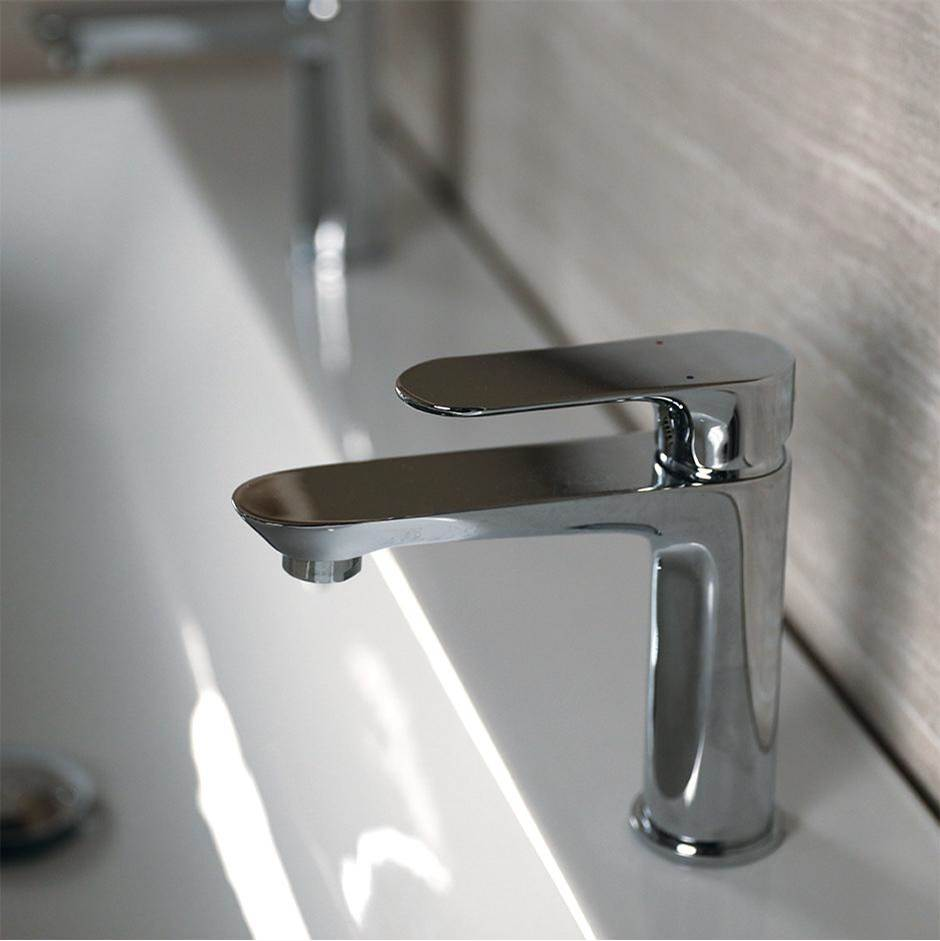 Lacava Deck-mount single hole faucet with lever handle. Water flow rate: 1.2GPM pressure compensating aerator. H: 6 1/2'', SPOUT: 5''.