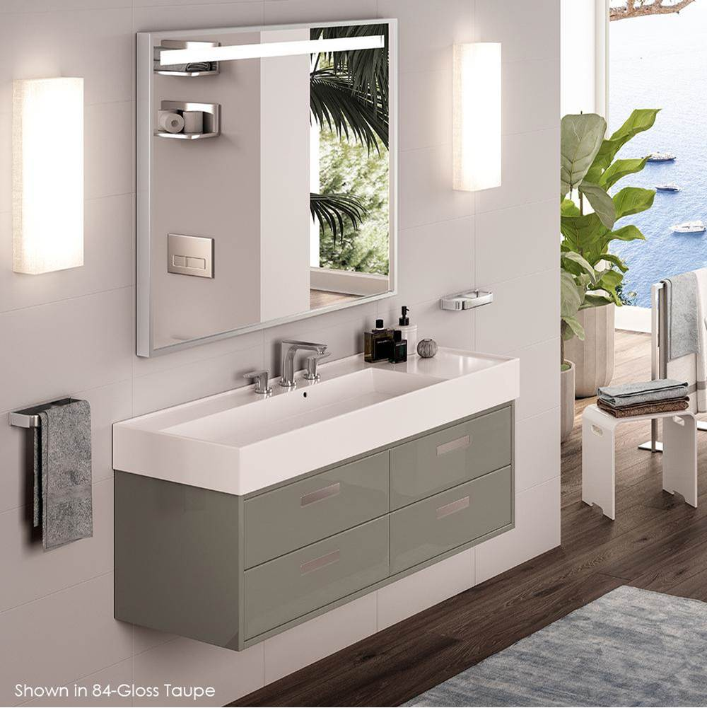 Lacava Wall-mounted or vessel porcelain washbasin with overflow, 48''W x 18''D x 6''H, 3 faucet holes. Sink on the left