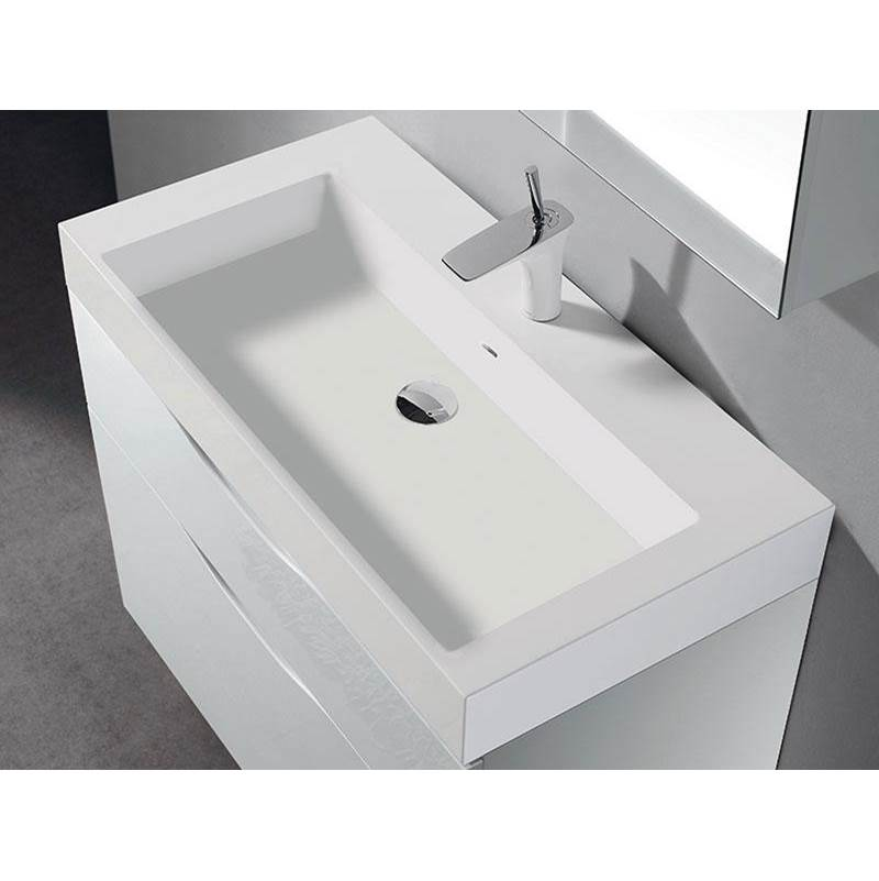 Madeli Madeli-18''D-X-Stone X-Stone Trough Sink Sink 36''W Solid Surface