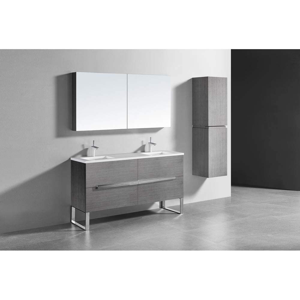 Madeli Madeli Soho 60'' Free standing Vanity Cabinet in Ash Grey/HW: Polished Nickel(PN)