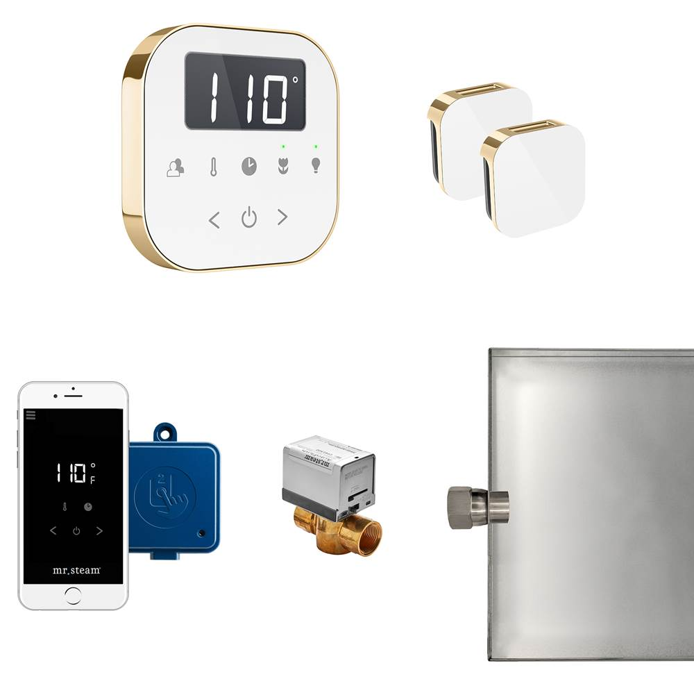 Mr. Steam AirButler Max Package White Polished Brass