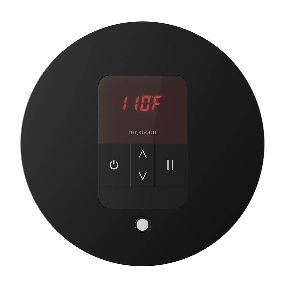 Mr. Steam iTempo Round Steam Shower Control in Matte Black with Polished Chrome Bezel