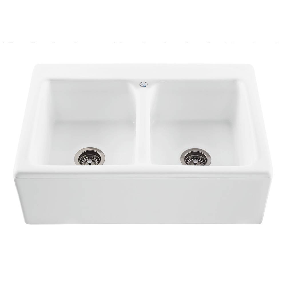 MTI Basics 33X22 Bone Plain Front Double Bowl Basics Farmhouse Sink-Appalachian