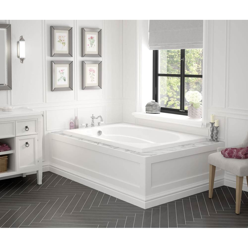 Maax Temple 59.75 in. x 40.75 in. Alcove Bathtub with Whirlpool System End Drain in White