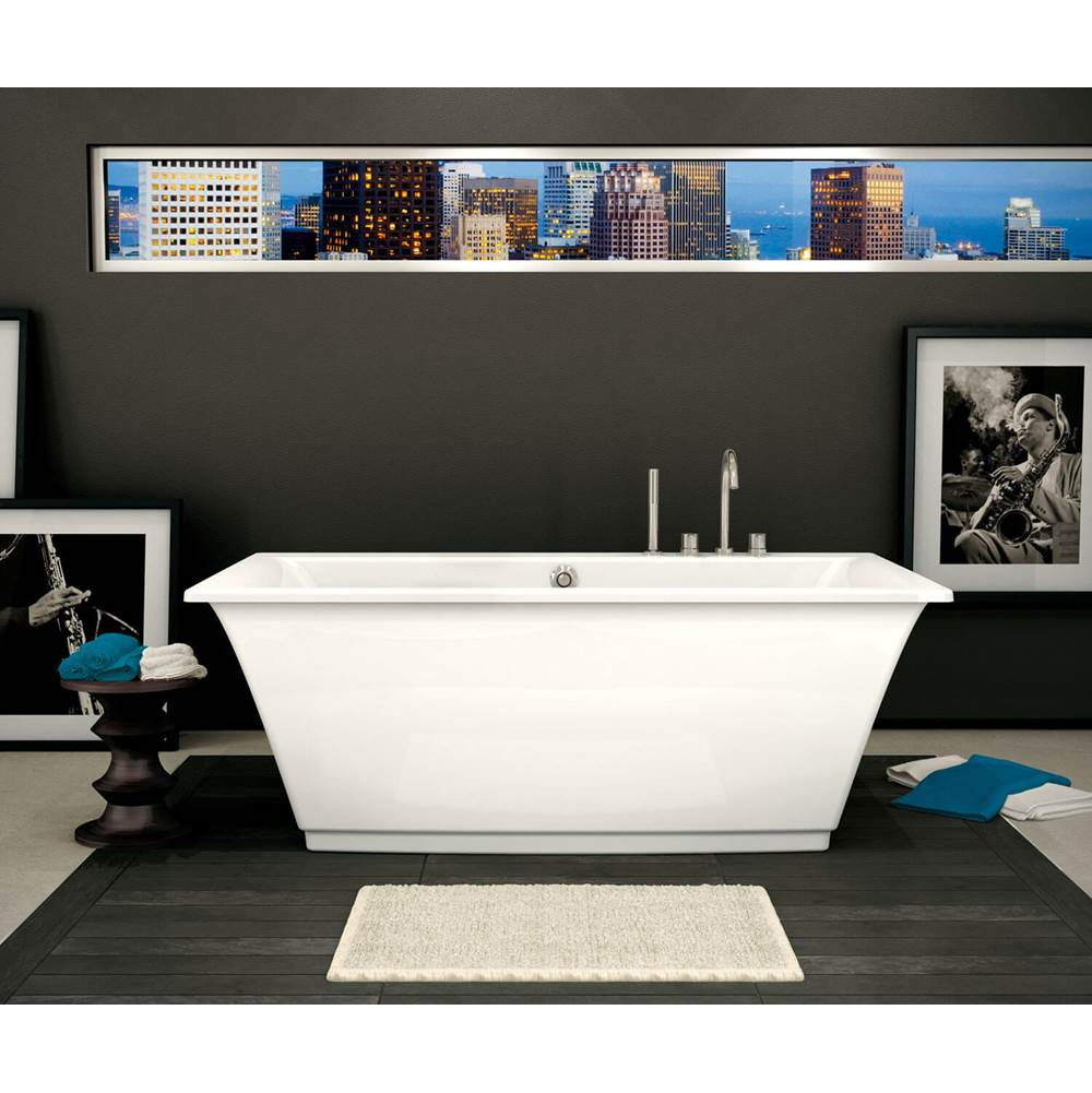 Maax Optik F 66 in. x 36 in. Freestanding Bathtub with Aerofeel System Center Drain in White