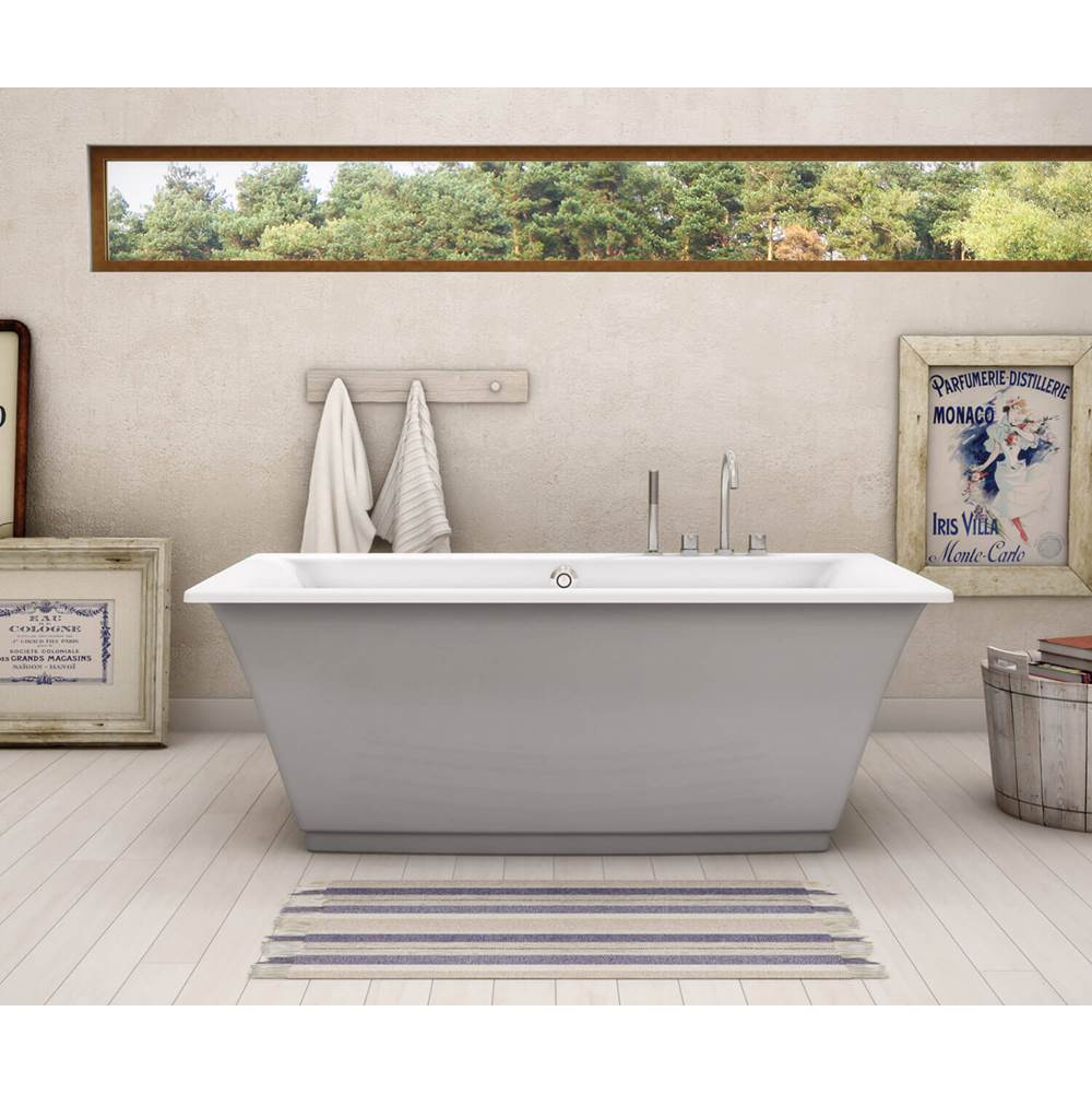 Maax Optik F 66 in. x 36 in. Freestanding Bathtub with Aerofeel System Center Drain in Sterling Silver