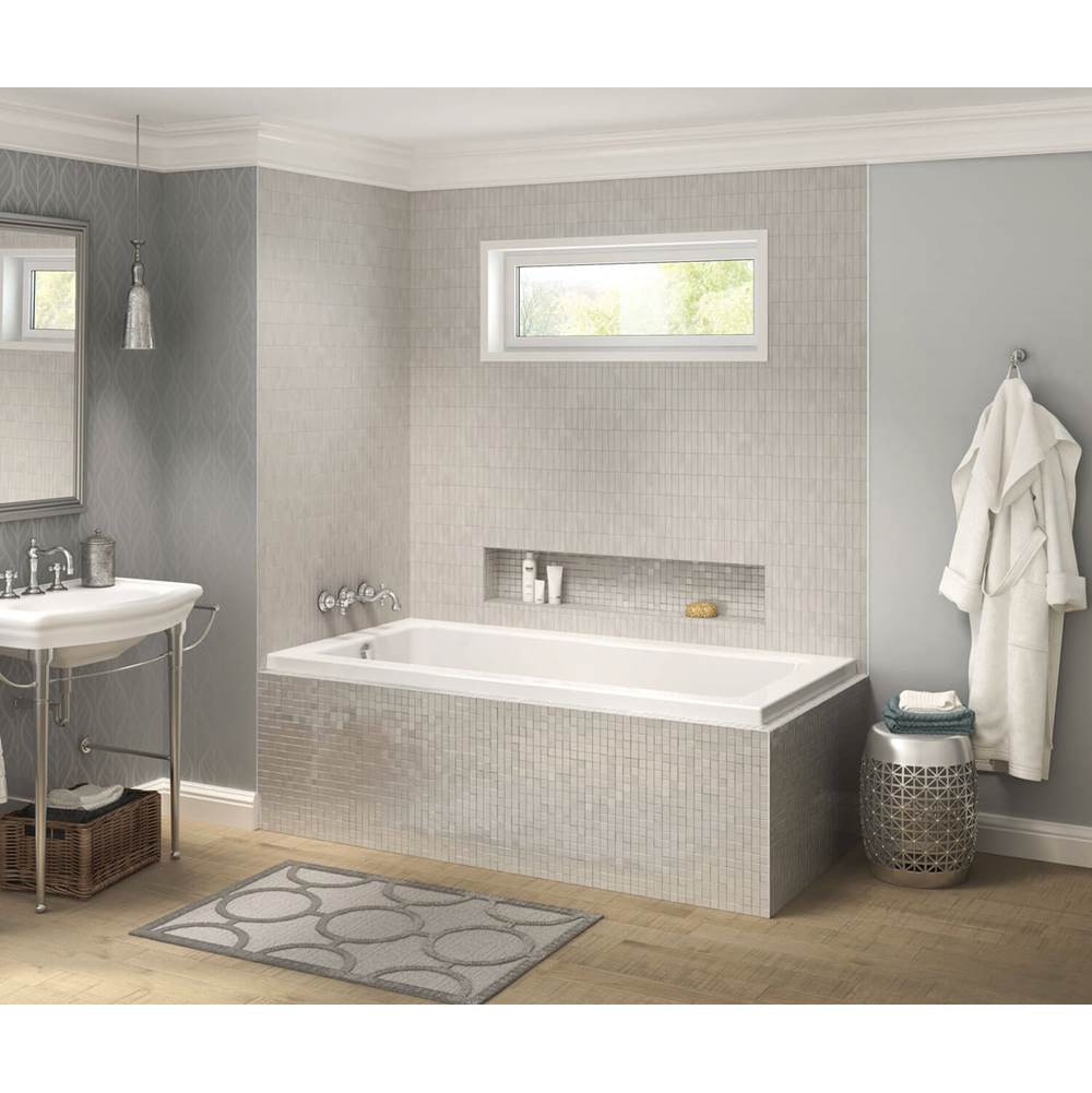 Maax Pose IF 59.625 in. x 31.625 in. Corner Bathtub with Combined Whirlpool/Aeroeffect System Left Drain in White