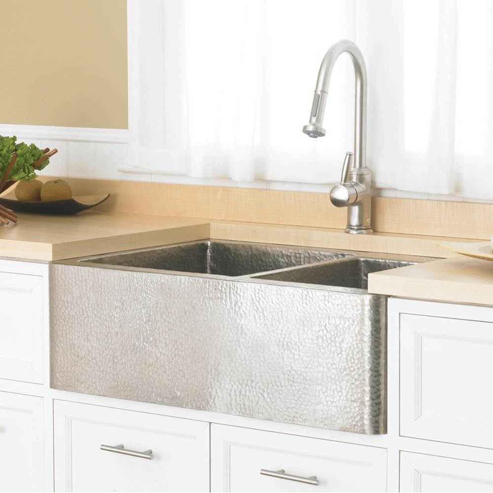 Native Trails Farmhouse Duet Kitchen SInk in Brushed Nickel