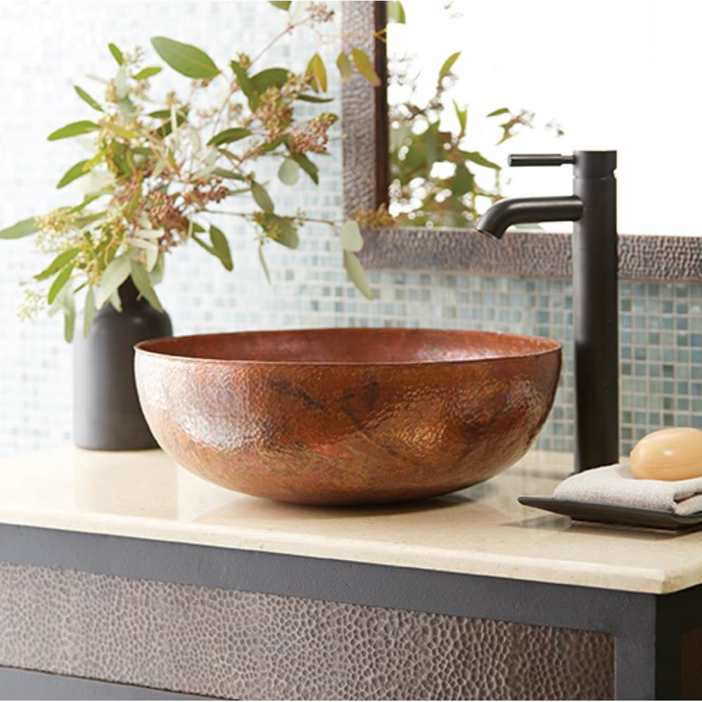 Native Trails Maestro Round Bathroom Sink in Tempered Copper