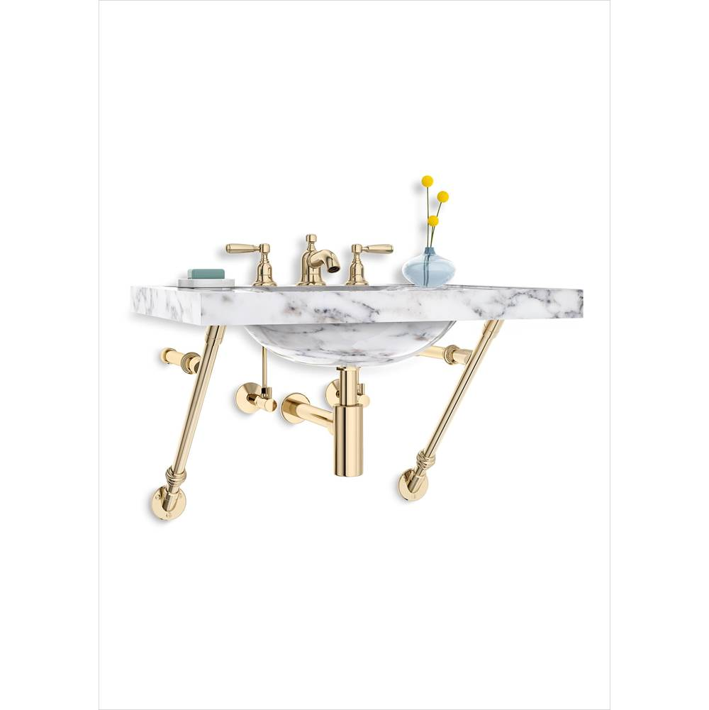 Palmer Industries Apex Wall Mount Vanity Console - 2 Bracket Configuration, With Collars