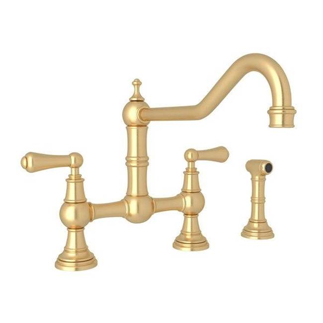 Rohl Perrin & Rowe® Edwardian Bridge Kitchen Faucet With Sidespray with Lever Handles in Satin English Gold