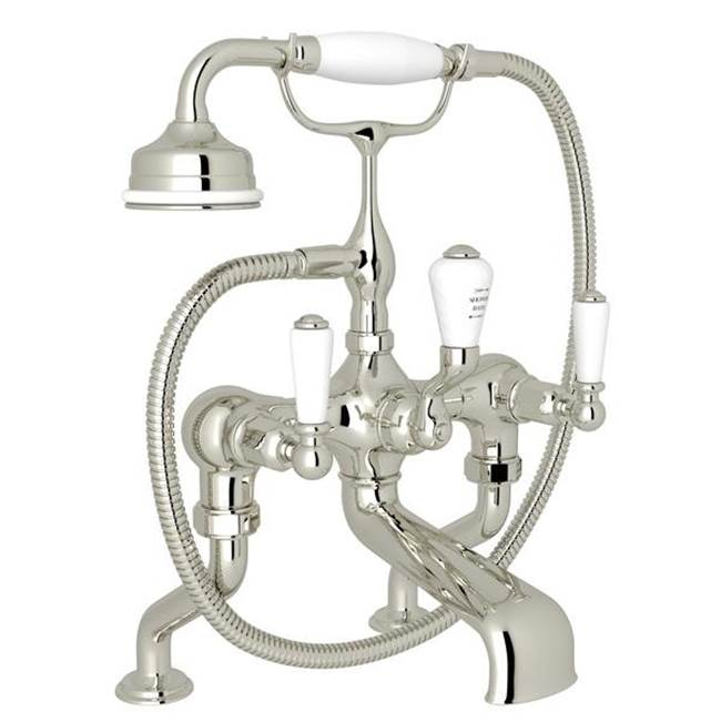 Rohl Perrin & Rowe® Edwardian Exposed Deck Mount Tub Filler With Handshower with Lever Handles in Polished Nickel