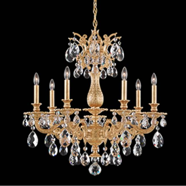Schonbek Milano 7 Light 110V Chandelier in Heirloom Gold with Clear Spectra Crystal