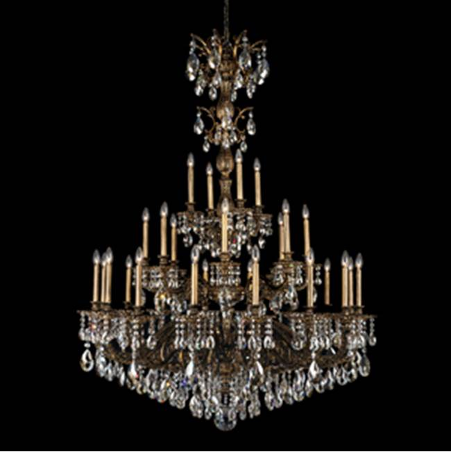 Schonbek Milano 28 Light 110V Chandelier in Roman Silver with Golden Teak Crystals From Swarovski®