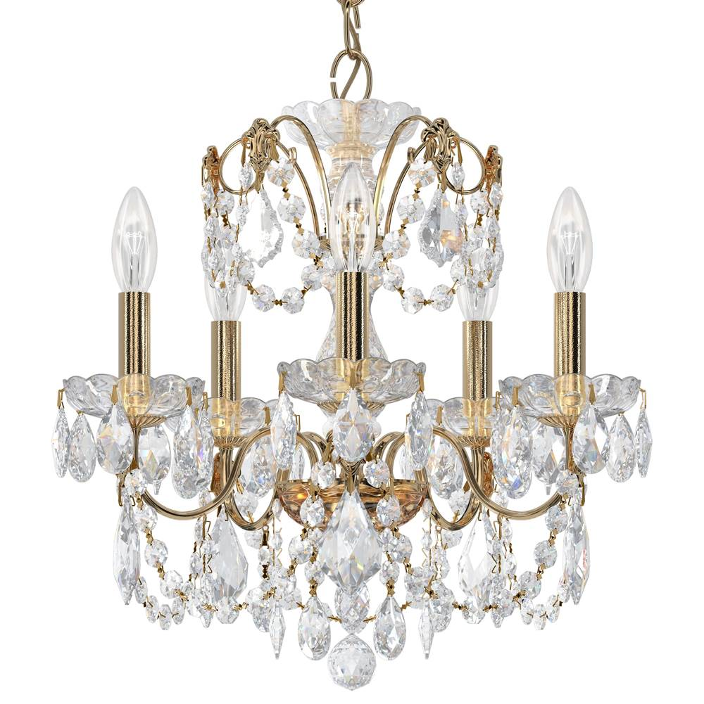Schonbek Century 5 Light 110V Chandelier in Rich Auerelia Gold with Clear Heritage Crystal