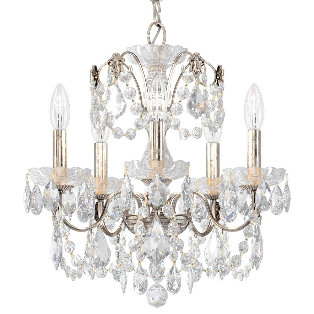 Schonbek Century 5 Light 110V Chandelier in Antique Silver with Clear Heritage Crystal