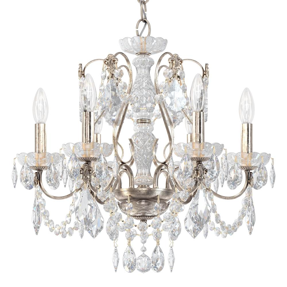 Schonbek Century 6 Light 110V Chandelier in Antique Silver with Clear Heritage Crystal
