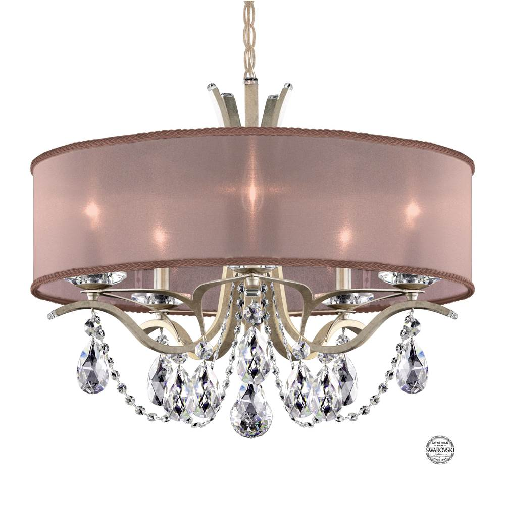 Schonbek Vesca 5 Light 110V Chandelier in Antique Silver with Clear Crystals From Swarovski® and Shade Hardback Bronze
