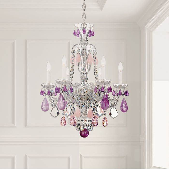 Schonbek Hamilton Rock Crystal 6 Light 110V Chandelier in Silver with Clear Rock Crystal