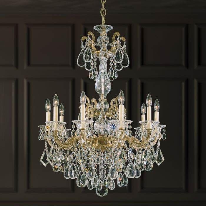 Schonbek La Scala 10 Light 110V Chandelier in Antique Silver with Clear Crystals From Swarovski®