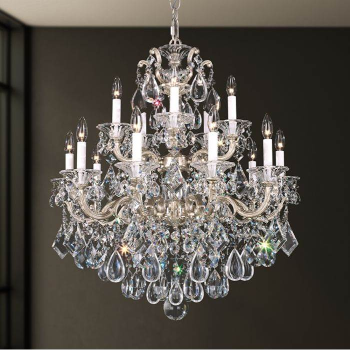 Schonbek La Scala 15 Light 110V Chandelier in Parchment Bronze with Clear Crystals From Swarovski®
