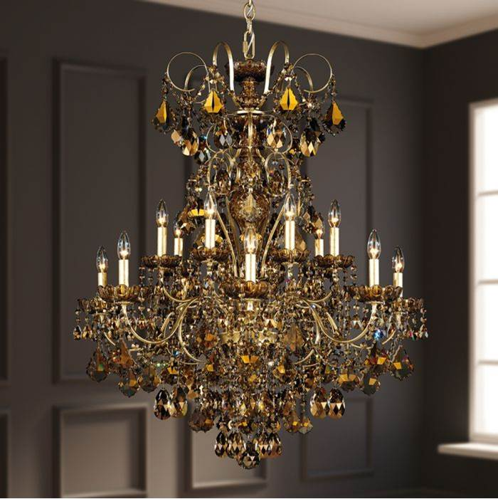 Schonbek New Orleans 14 Light 110V Chandelier in Antique Silver with Clear Crystals From Swarovski®