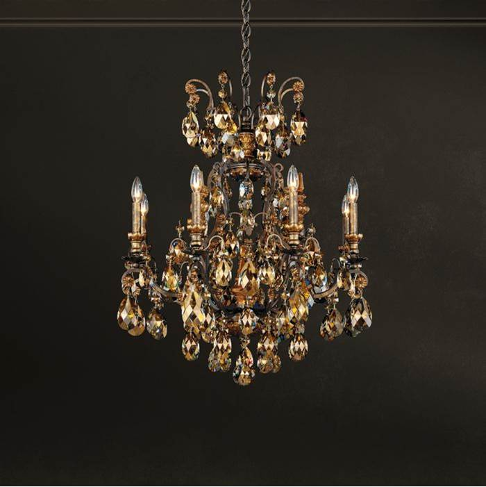Schonbek Renaissance 9 Light 110V Chandelier in French Gold with Golden Teak Crystals From Swarovski®