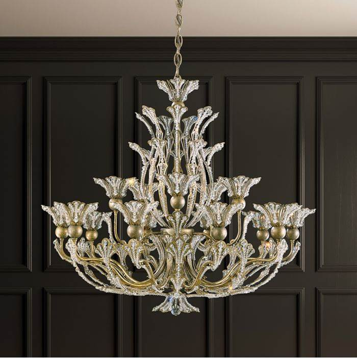 Schonbek Rivendell 16 Light 110V Chandelier in Antique Silver with Clear Crystals From Swarovski®