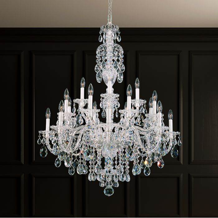 Schonbek Sterling 20 Light 110V Chandelier in Rich Auerelia Gold with Clear Heritage Crystal