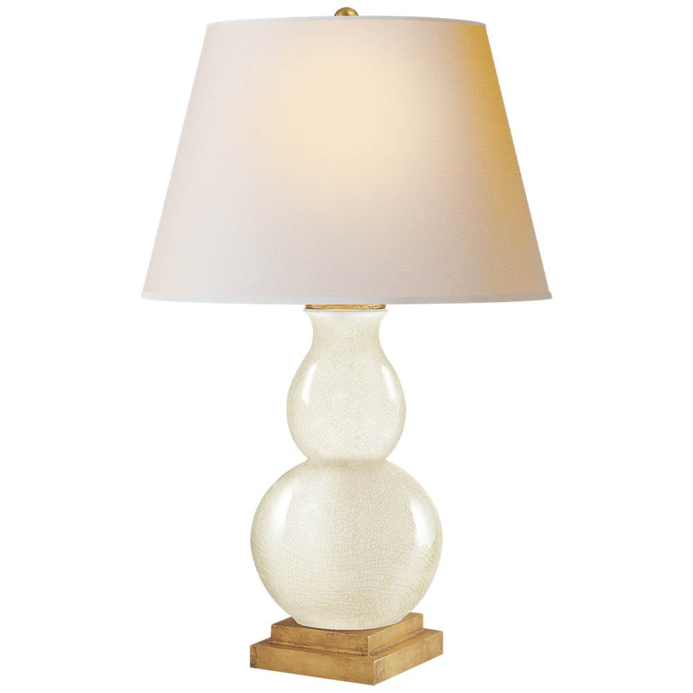 Visual Comfort Gourd Form Small Table Lamp in Tea Stain Crackle