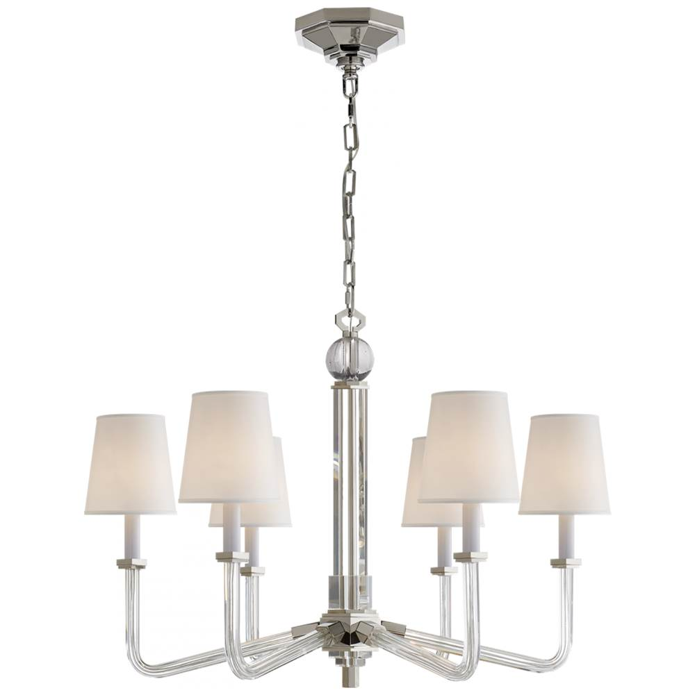 Visual Comfort Bennett Six Arm Chandelier in Crystal with Polished Nickel