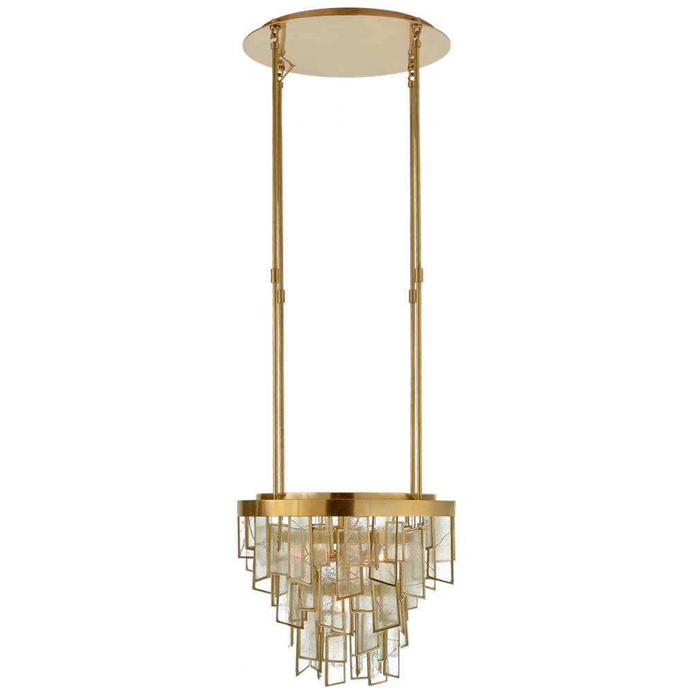 Visual Comfort Ardent Small Waterfall Chandelier in Antique-Burnished Brass