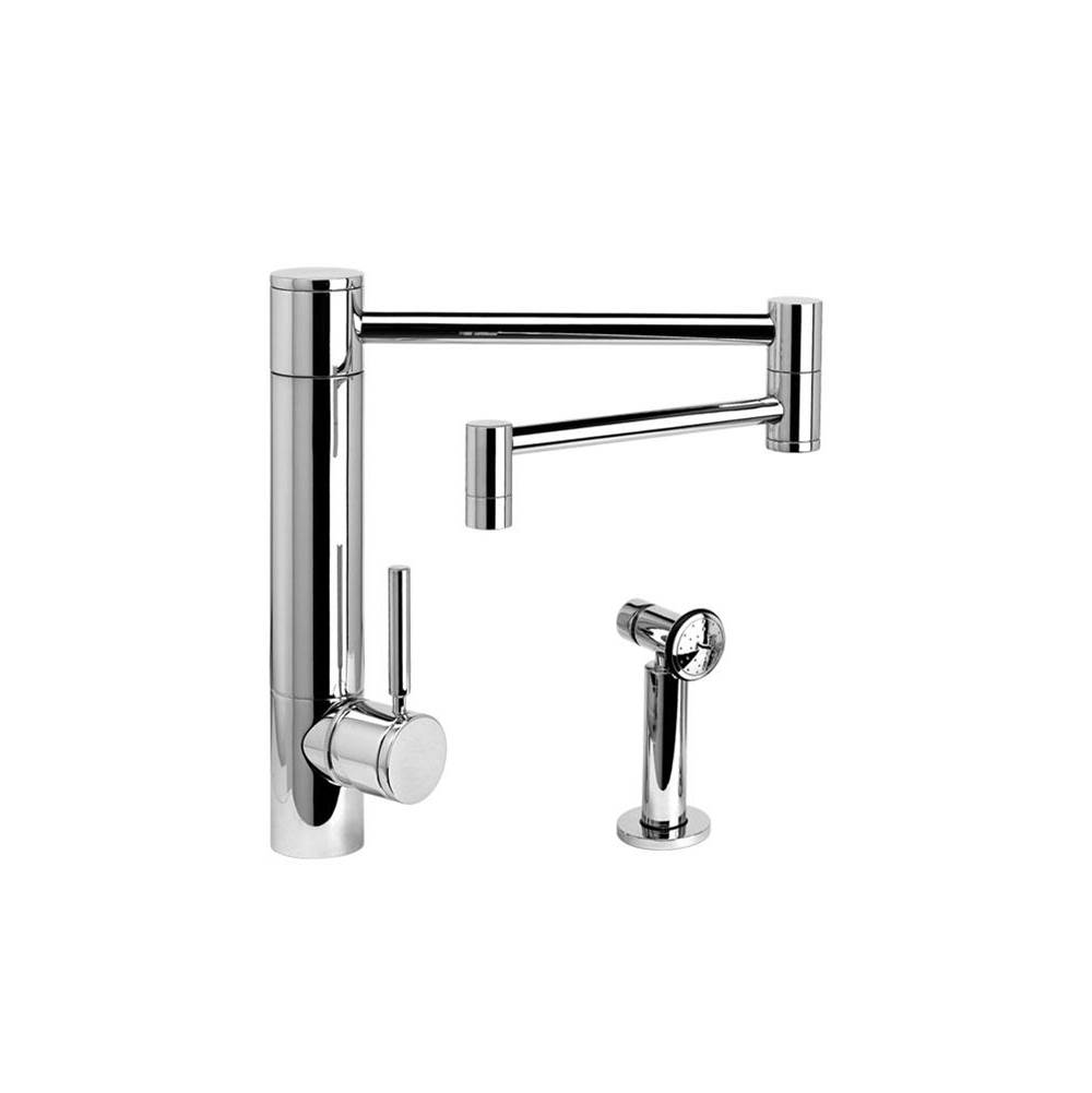 Waterstone Hunley Kitchen Faucet - 18'' Articulated Spout W/ Side Spray