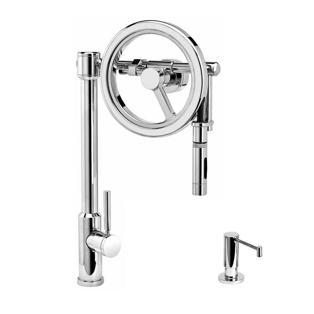 Waterstone Endeavor Wheel Pulldown Faucet - Toggle Sprayer - 2Pc. Suite