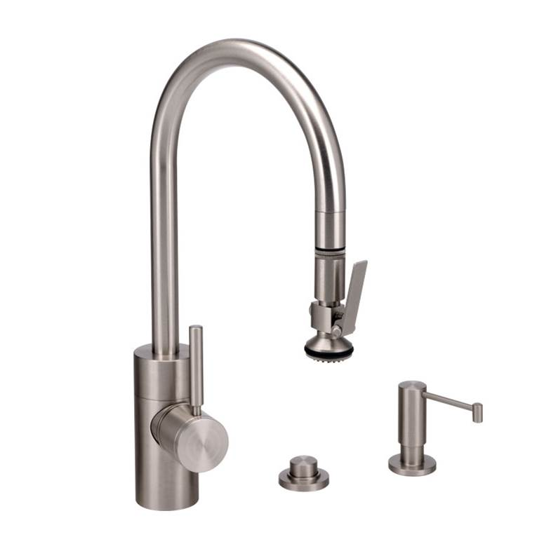 Waterstone Contemporary Plp Pulldown Faucet - Angled Spout - Lever Sprayer - 3Pc. Suite