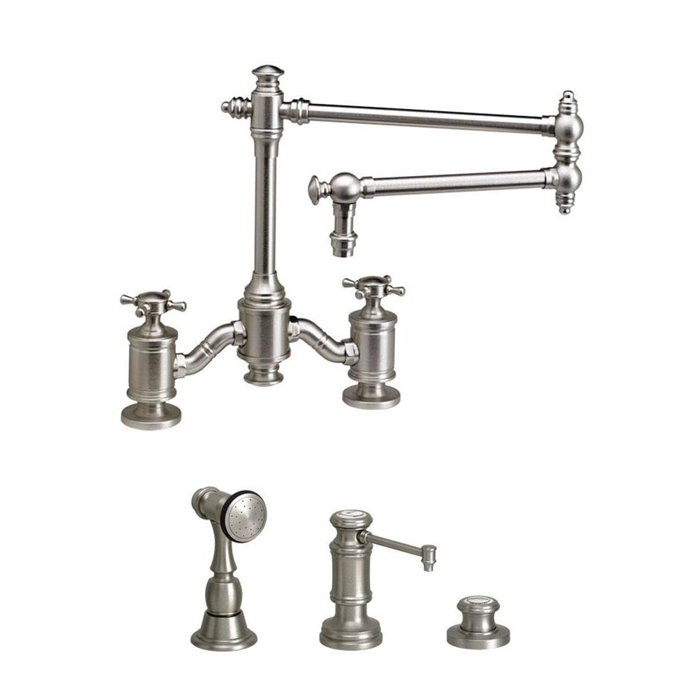Waterstone Towson Bridge Faucet - 18'' Articulated Spout - Cross Handles - 3Pc. Suite