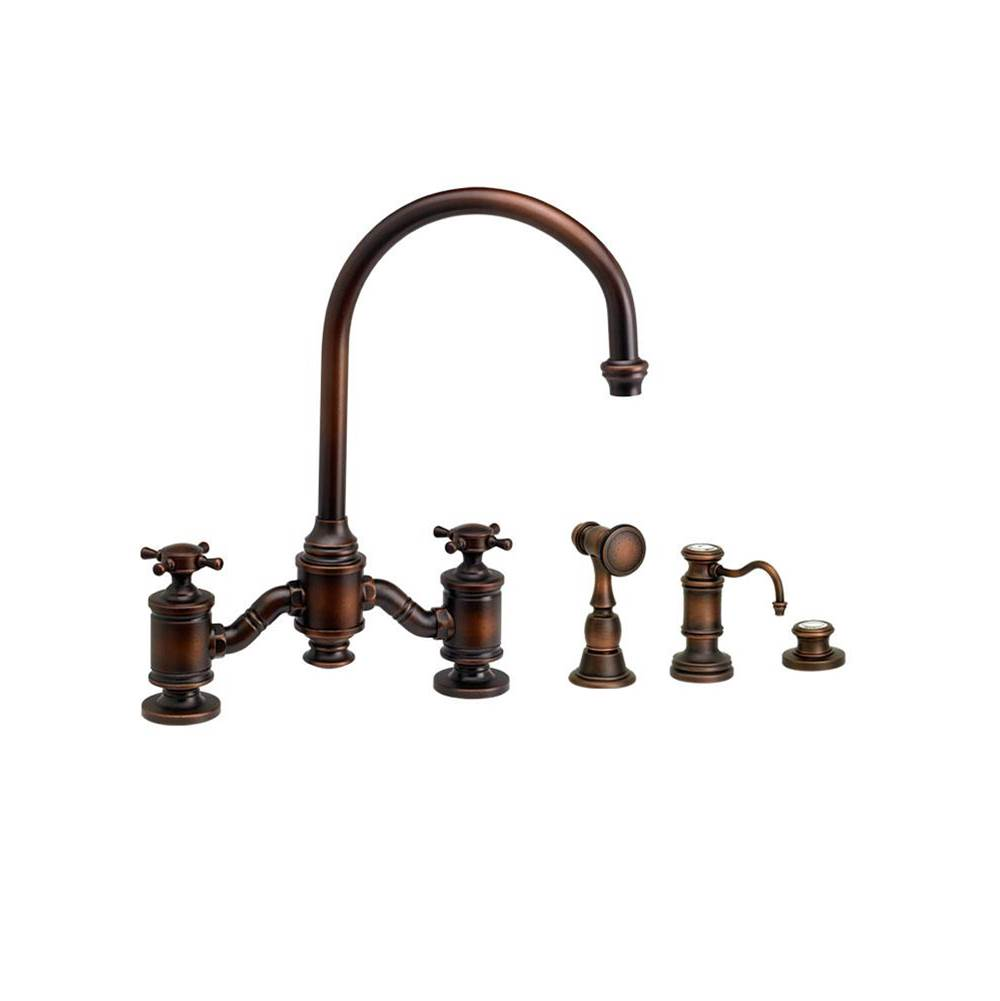 Waterstone Hampton Bridge Faucet - Cross Handles - 3Pc. Suite