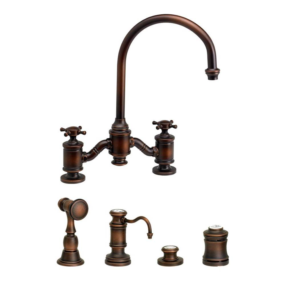 Waterstone Hampton Bridge Faucet - Cross Handles - 4Pc. Suite