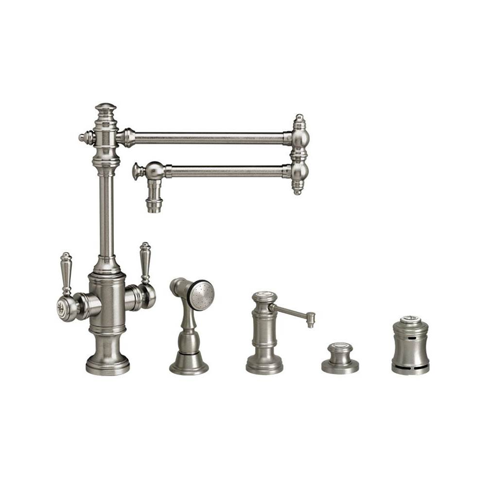 Waterstone Towson Two Handle Kitchen Faucet - 18'' Articulated Spout - 4Pc. Suite