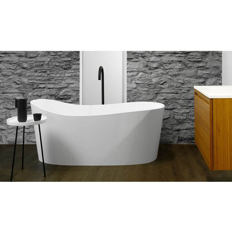 Wet Style WAVE BATH 57 5/8 X 26 1/4 X 20 5/8 - FS - BN DRAIN and NT O/F - WHITE MATTE